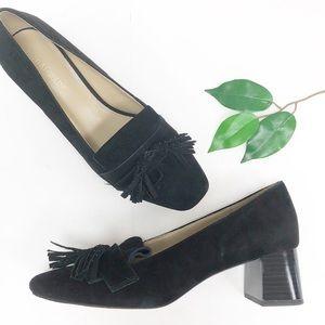 ENZO ANGIOLINI | Black Suede Tassle Loafers